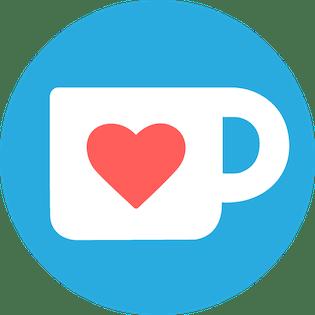 white mug with a heart kofi logo
