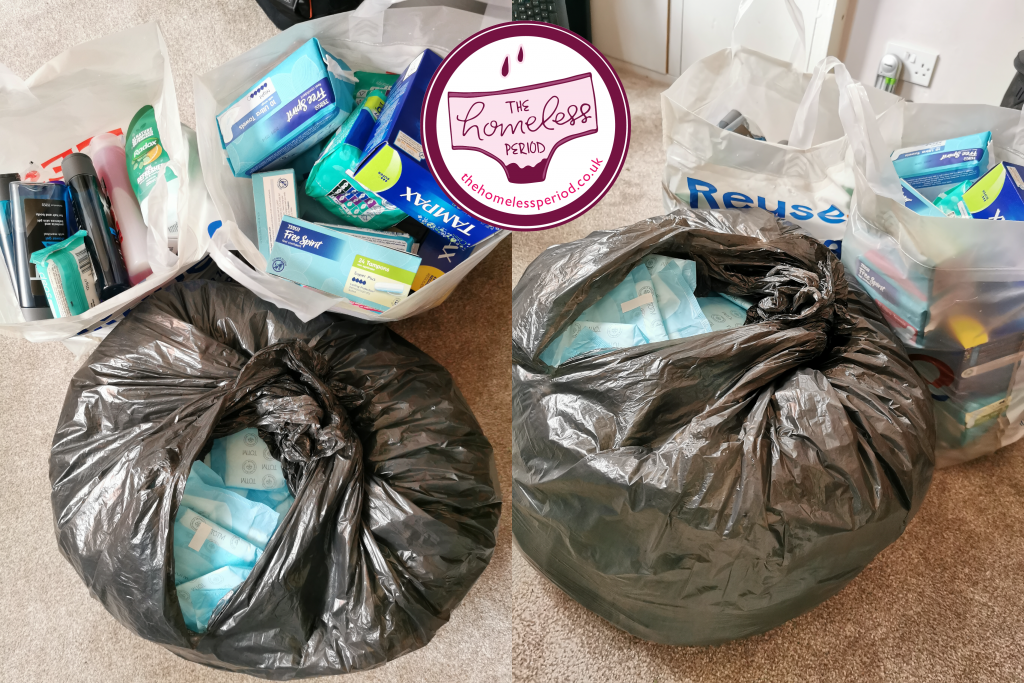 Picture showing bags of donations that were delivered to Two Saints